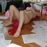hen party sketches with lying down pose